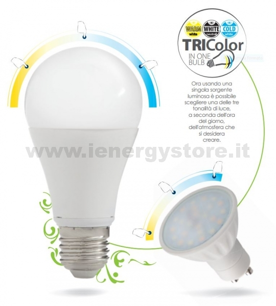 TRIColor lampada a LED 12W E27